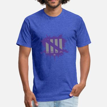 Attributes Gray/Purp - Fitted Cotton/Poly T-Shirt by Next Level
