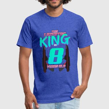 8 Year Anniversary Lasertag - This King Is 8 Years Old - Fitted Cotton/Poly T-Shirt by Next Level