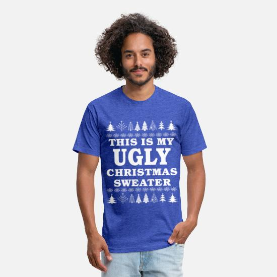 Christmas T-Shirts - This is My Ugly Christmas Sweater Funny Gift - Unisex Poly Cotton T-Shirt heather royal