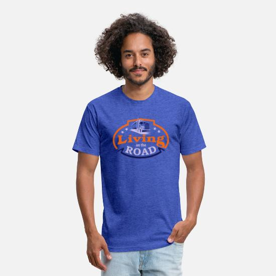 Road Construction T-Shirts - Living on the road - Unisex Poly Cotton T-Shirt heather royal