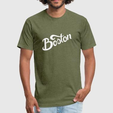 Boston Hand Lettering - Fitted Cotton/Poly T-Shirt by Next Level