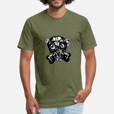 Gas Mask Biohazard Monkey with gas mask as a gift - Fitted Cotton/Poly T-Shirt by Next Level