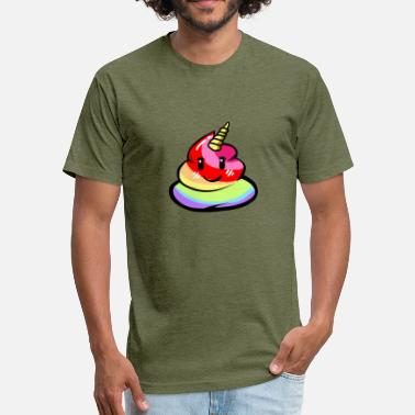 Rainbow Kawaii Unicorn Garbage Poo Rainbow Kawaii Gift - Fitted Cotton/Poly T-Shirt by Next Level