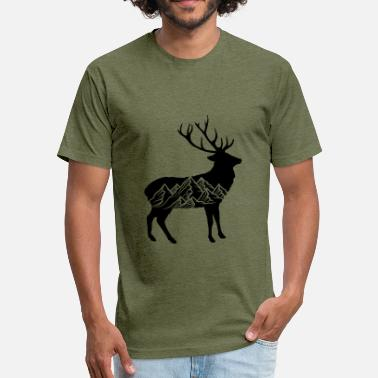 Mounted Deer black cool pattern deer deer antlers hunters mount - Fitted Cotton/Poly T-Shirt by Next Level
