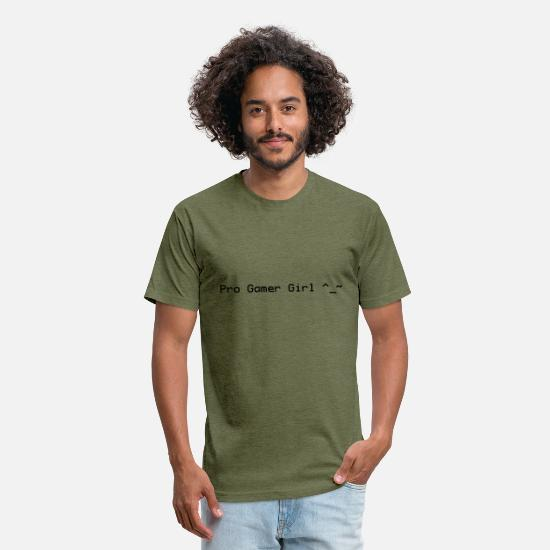Game T-Shirts - Pro Gamer Girl - Unisex Poly Cotton T-Shirt heather military green
