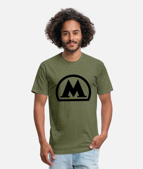Cccp T-Shirts - moscow metro logo black - Unisex Poly Cotton T-Shirt heather military green