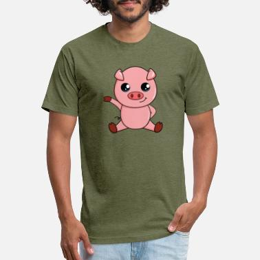 Cute Pig Cute Cartoon Animals - Pig - Fitted Cotton/Poly T-Shirt by Next Level