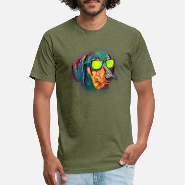 2714fed4 Dog Sunglasses Dachshund Colorful Neon Wiener Dog Sunglasses - Unisex Poly  Cotton T-Shirt