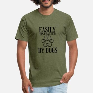 EASILY DISTRACTED BY DOGS Dog feet - Unisex Poly Cotton T-Shirt