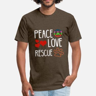 Rescue Daddy Peace, love, rescue - Fitted Cotton/Poly T-Shirt by Next Level