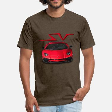 Lamborghini Aventador SV Red - Fitted Cotton/Poly T-Shirt by Next Level