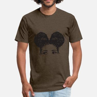 Afro Hair Pony Tail Girl Black Afro Female Cute Hair Style - Fitted Cotton/Poly T-Shirt by Next Level