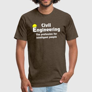 Smart Civil Engineer White Text - Fitted Cotton/Poly T-Shirt by Next Level