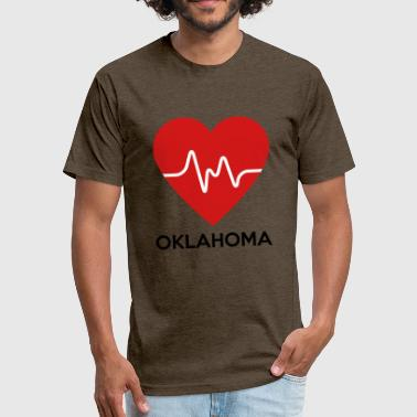 Oklahoma Heart Heart Oklahoma - Fitted Cotton/Poly T-Shirt by Next Level