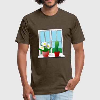 Cactus Flower cactus and flower - Fitted Cotton/Poly T-Shirt by Next Level