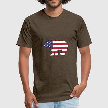 American Flag Bear Cub - Fitted Cotton/Poly T-Shirt by Next Level
