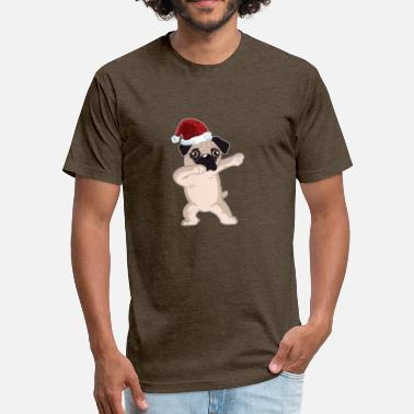 Pug Cute Dabbing Cute Pug Dabbing Christmas Shirt - Fitted Cotton/Poly T-Shirt by Next Level