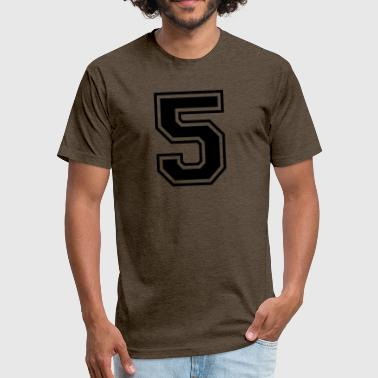 Number 5 College Style Font - Fitted Cotton/Poly T-Shirt by Next Level