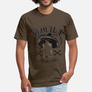 Tequila Worm Tequila worm sombrero hat - Fitted Cotton/Poly T-Shirt by Next Level