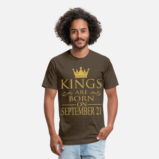 September T-Shirts - Kings are born on September 21 - Unisex Poly Cotton T-Shirt heather espresso