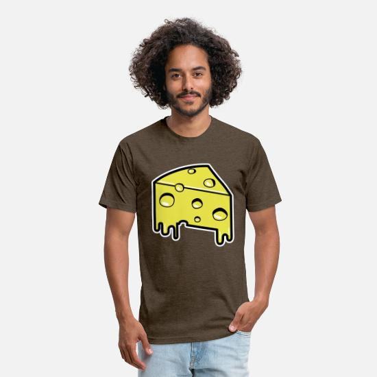 Fast Food T-Shirts - Cheese - Unisex Poly Cotton T-Shirt heather espresso