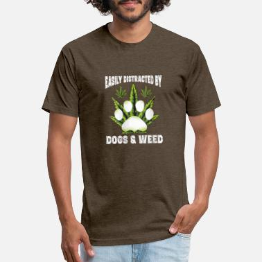 Easily Distracted By Dogs Weed Funny Dog Lover Gif - Unisex Poly Cotton T-Shirt