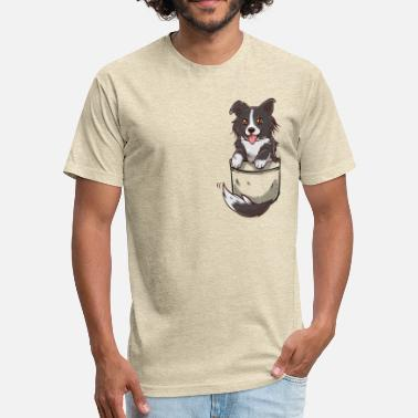 Border Collie Kids Pocket Cute Border Collie Dog - Fitted Cotton/Poly T-Shirt by Next Level