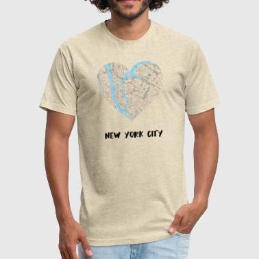 City Map New York City Heart Map - Fitted Cotton/Poly T-Shirt by Next Level