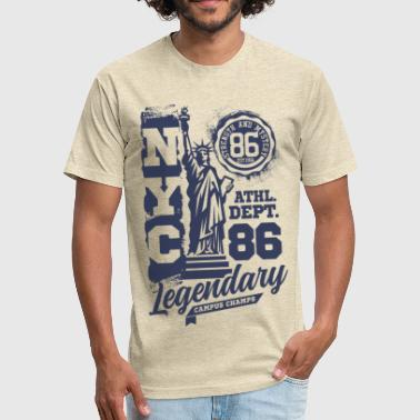 New York Times Square New York - Fitted Cotton/Poly T-Shirt by Next Level