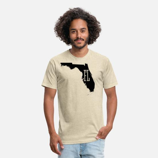 United States T-Shirts - Florida State White Map - Unisex Poly Cotton T-Shirt heather cream