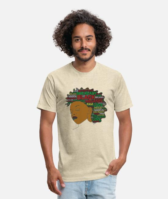 Hair T-Shirts - Words in Afro Proud Girl - Unisex Poly Cotton T-Shirt heather cream