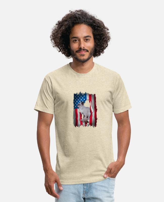 Catcher T-Shirts - Balinese Javanese Cat Shirts USA Flag 4th Of July - Unisex Poly Cotton T-Shirt heather cream