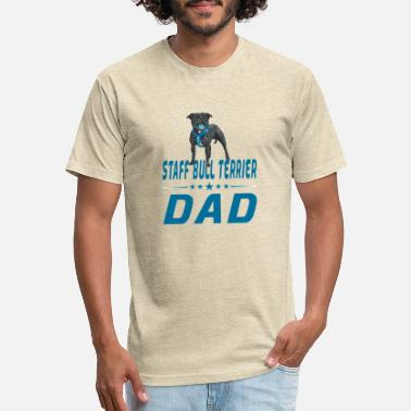 Staff Bull staff bull terrier dad blue design - Unisex Poly Cotton T-Shirt