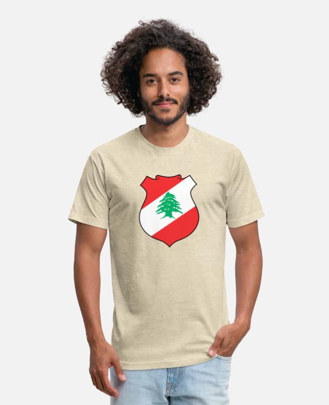 Lebanon T-Shirts - Lebanon Coat of Arms - Unisex Poly Cotton T-Shirt heather cream