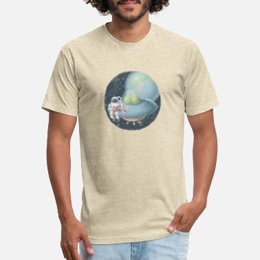 Orbit Astronaut reading book on ufo - Unisex Poly Cotton T-Shirt