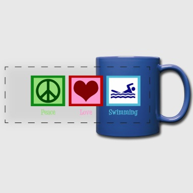Peace Peace Love Swimming - Full Color Panoramic Mug