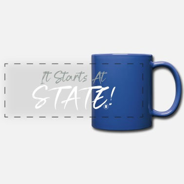 It Starts At STATE! - Silver & White Script - Full Color Panoramic Mug