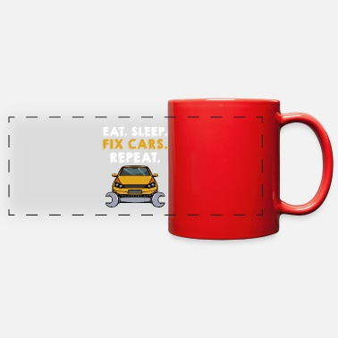 Open Eat Sleep Fix Cars Repeat Cars Mechanic Garage - Full Color Panoramic Mug