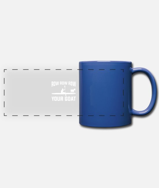 Water Mugs & Cups - Funny Rowing Design Quote Row Your Goat - Full Color Panoramic Mug royal blue