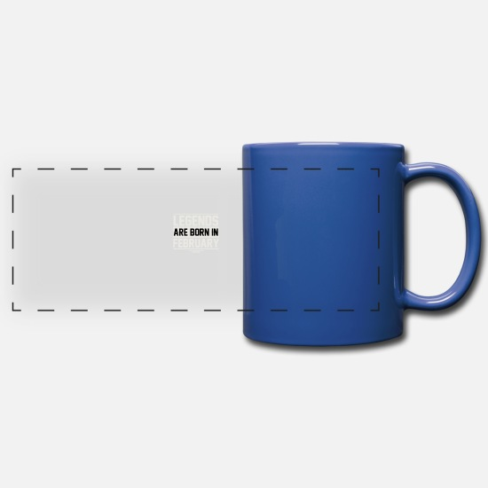February Mugs & Drinkware - Birthday February - Full Color Panoramic Mug royal blue