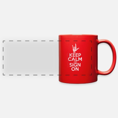 Finger ASL Keep Calm And Sign On Vintage - Full Color Panoramic Mug