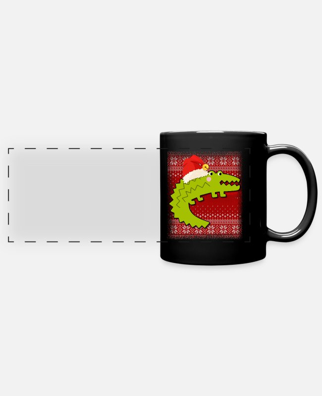 Pattern Mugs & Cups - Ugly Christmas Crocodile Gift For Christmas - Full Color Panoramic Mug black