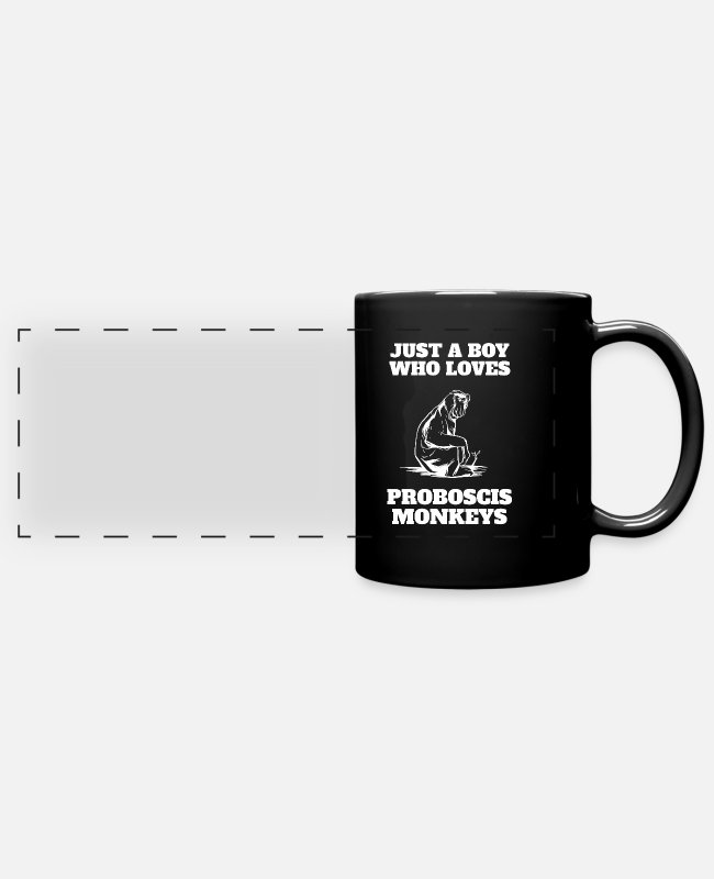 Christmas Mugs & Cups - Just A Boy Who Loves Proboscis Monkey - Full Color Panoramic Mug black