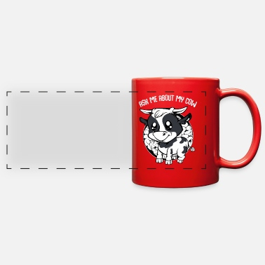 Cowboy Cow - Ask Me About My Cow - Funny Farmer Saying - Full Color Panoramic Mug