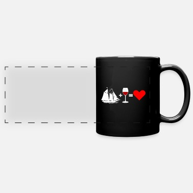 Red Sailed Boat Sailing Sail Boat Red Wine - Love - Full Color Panoramic Mug