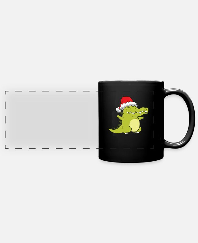 Alligator Mugs & Cups - Alligator With Santa Hat Crocodile Christmas - Full Color Panoramic Mug black