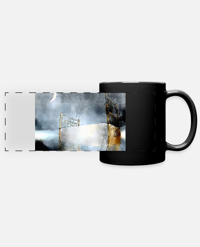 Bed Mugs & Cups - Rest in Heaven - Full Color Panoramic Mug black