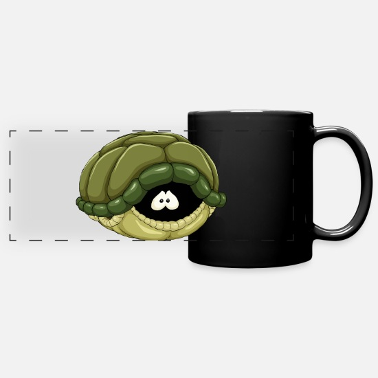 Turtle Mugs & Drinkware - Scared Turtle - Full Color Panoramic Mug black