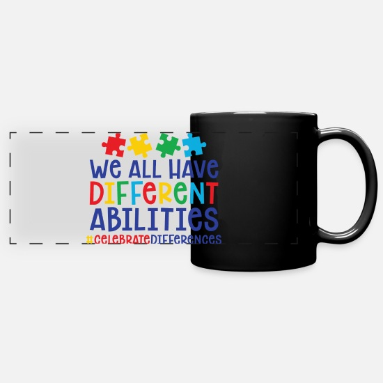 Autism Mugs & Drinkware - Celebrate Differences - Full Color Panoramic Mug black