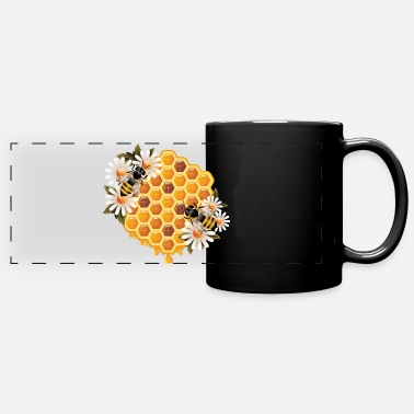 Bee bees flowers honey - Full Color Panoramic Mug